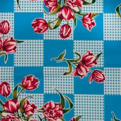 Kitsch Kitchen Tischtuch mit Blumen und Karomuster oilcloth